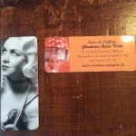 Promo cards for a retro woman hairdresser in Toulouse, Madame Sans Gêne