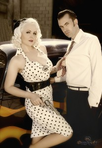Bonnie and Clyde By Damona Art, car by Nostalgic cars